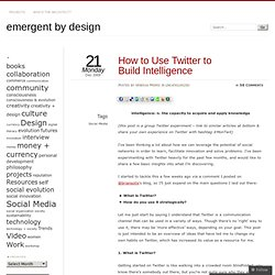 How to Use Twitter to Build Intelligence