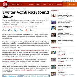 Twitter bomb joker found guilty