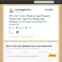 LearningForYou: RT @Mr_Yoder iPads in the