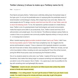 Twitter Literacy (I refuse to ...