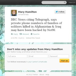 Mary Hamilton: BBC News citing Telegraph,