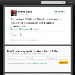 Pierre Côté: Reporters Without Borders