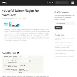 15 Useful Twitter Plugins For WordPress | Tools