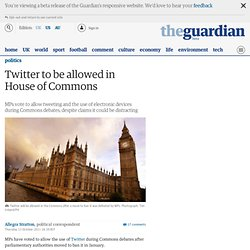 Twitter to be allowed in House of Commons