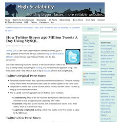 How Twitter Stores 250 Million Tweets a Day UsingMySQL