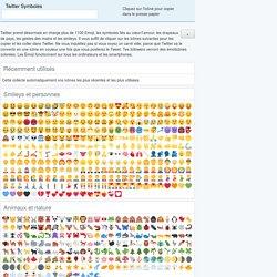 Twitter Symboles: smiley, emoji et des émoticônes