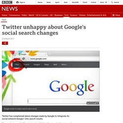 Twitter unhappy about Google's social search changes