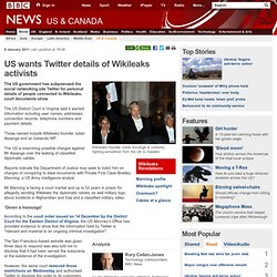 US wants Twitter details of Wikileaks activists
