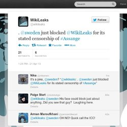 wikileaks : . @sweden just blocked @WikiLeaks ... - Pale Moon