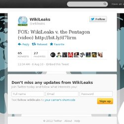 FOX: WikiLeaks v. the Pentagon