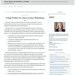 Using Twitter in a face-to-face Workshop - Social Media In Learning