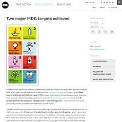 Two major MDG targets achieved