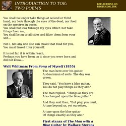 two poems evoking TOK