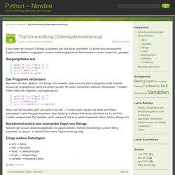 Typ-Umwandlung (Datentypkonvertierung)