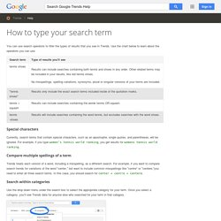 How to type your search term - Trends Help