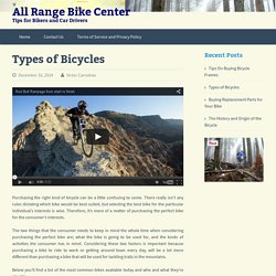 Types of Bicycles - All Range Bike Center