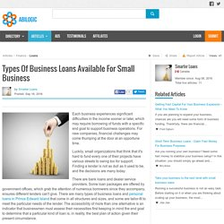 Types Of Business Loans Available For Small Business