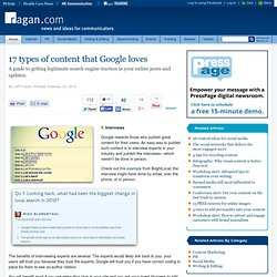 17 types of content that Google loves
