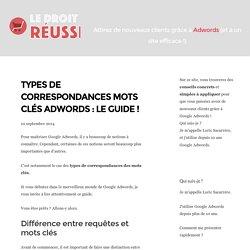 Types de correspondances mots clés Adwords : Le Guide !