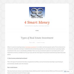 Types of Real Estate Investment – 4 Smart Money