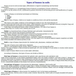 Types of humus in soils