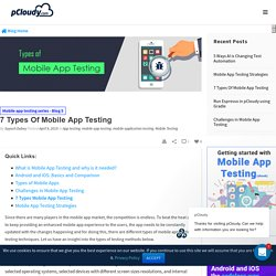 7 Types Of Mobile App Testing - pCloudy