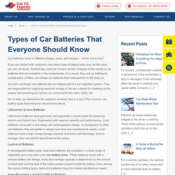 Types of Car Batteries · Carfit