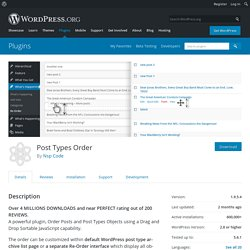 Post Types Order – WordPress plugin