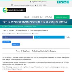 Top 15 Types Of Blog Posts In The Blogging World - [Updated List]