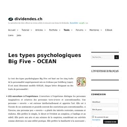 Les types psychologiques Big Five - OCEAN