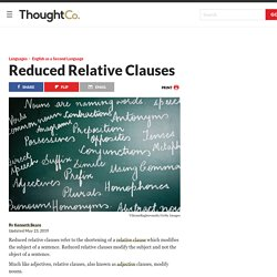 Types of Reduced Relative Clauses