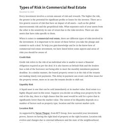 Types of Risk in Commercial Real Estate