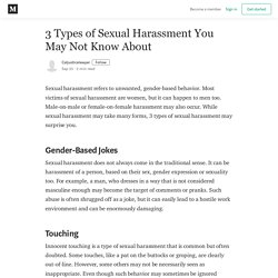 3 Types of Sexual Harassment You May Not Know About