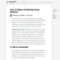The 10 Types of Startup Press Release
