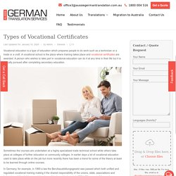 Some Types of Vocational Certificates