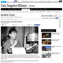 At typewriter: Dorothy Parker