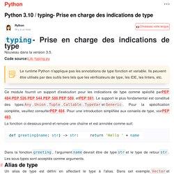 typing- Prise en charge des indications de type - Python... - Manuel multilingue