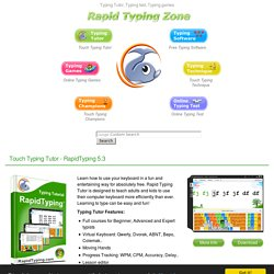 Typing Tutor, Typing Test and Typing games at rapidtyping.com