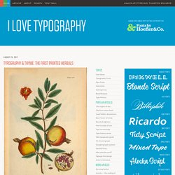 Typography. I Love Typography, devoted to fonts, typefaces and all things typographical.