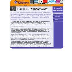 Manuale typographicum: Typographie, mode d'emploi