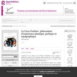L'Esthétique du livre - Le Livre d'artiste: phénomène d'expérience plastique, poétique et typographique - Presses universitaires de Paris Nanterre
