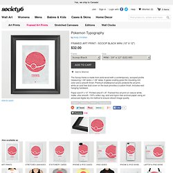 Pokemon Typography Framed Art Print by Kody Christian