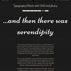 Typography Effects with CSS3 and jQuery - Vimperator