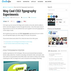 Way Cool CSS3 Typography Experiments