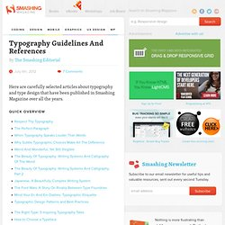 Typography Guidelines And References - Smashing Magazine