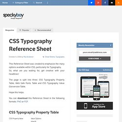 CSS Typography Reference Sheet