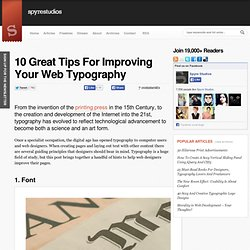 10 Great Tips For Improving Your Web Typography