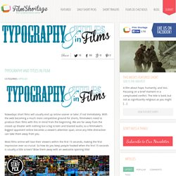 Typography And Titles in Film