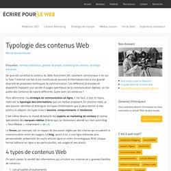 Typologie des contenus Web : 4 grandes familles de contenus