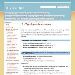 2 - Typologie des erreurs - Dix Sur Dys